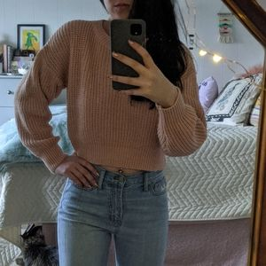 Urban outfitters cropped pink sweater